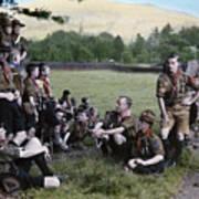 English Boy Scouts On A Hike Stop Art Print