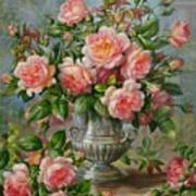 English Elegance Roses In A Silver Vase Art Print