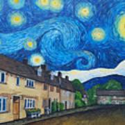English Village In Van Gogh Style Art Print