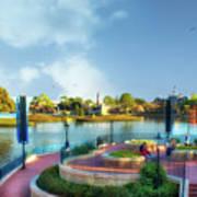 Enjoying The Shade World Showcase Lagoon Walt Disney World Art Print