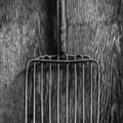 Ensilage Fork Up On Plywood In Bw 66 Art Print