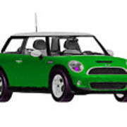 Envy Green Mini Cooper Art Print