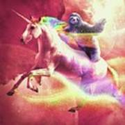 Epic Space Sloth Riding On Unicorn Art Print