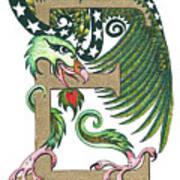 Epsilon Eagle In Green And Gold Art Print