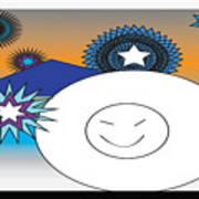 Eskimo And Snowflakes Graphic Art Print