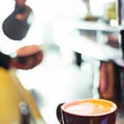 Espresso Expresso Italian Coffee Cup With Machine  Art Print