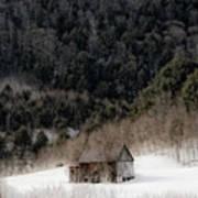 Ethereal Barn In Winter Art Print