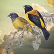 Ethereal Birds On Snowy Branch Art Print