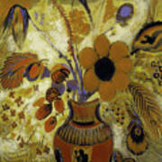 Etrusian Vase With Flowers Art Print