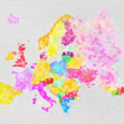 Europe Map Art Print by Setsiri Silapasuwanchai