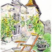 European Chateau Lounge Chair Art Print