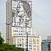 Eva Peron Outlined On The Wall Of A Skyscraper On July Nine Avenue  In Buenos Aires-argentina Art Print