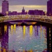 Evening - Ha' Penny Bridge- Dublin Art Print by John  Nolan