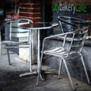Evening At A Sidewalk Cafe Art Print