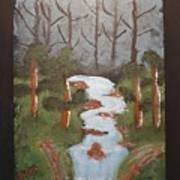 Evening Forest Waterfall Art Print
