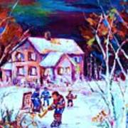 Evening  Game At The Chalet Art Print