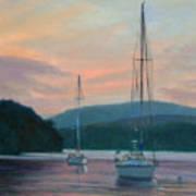 Evening Glow Hudson River Art Print