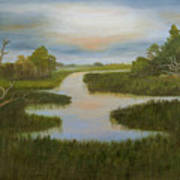 Evening Marsh Art Print by Shirley Lawing