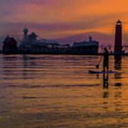 Evening On Lake Michigan At Grand Haven Art Print