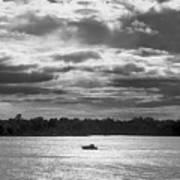 Evening On South River - Bw Art Print