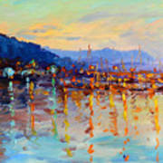 Evening Reflections In Piermont Dock Art Print