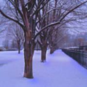 Evening Snow Path At Waterfront Park Burlington Vermont Art Print