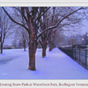 Evening Snow Path At Waterfront Park Burlington Vermont Poster Greeting Card Art Print