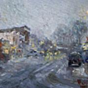 Evening Snowfall At Webster St Art Print