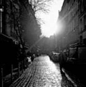 Evening Walk In Paris Bw Art Print