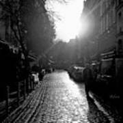 Evening Walk In Paris Bw Squared Art Print