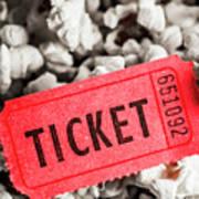 Event Ticket Lying On Pile Of Popcorn Art Print
