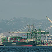 Evergreen Freight Ship And Cargo In Port Of Oakland, California Art Print