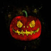 Evil Halloween Pumpkin Art Print