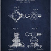 Exercise Machine Patent From 1879 - Navy Blue Art Print