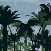 Exotic Palm Trees Silhouettes Water Color Art Print