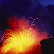 Exploding Lava And Person Art Print