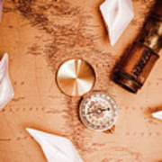 Explorer Desk With Compass, Map And Spyglass Art Print