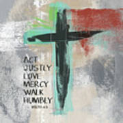 Expressionist Cross Love Mercy- Art By Linda Woods Art Print