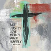 Expressionist Cross Love Mercy- Art by Linda Woods Art Print