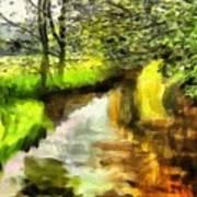 Expressionist Riverside Scene L A Art Print
