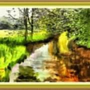 Expressionist Riverside Scene L A With Alt. Decorative Printed Frame. Art Print