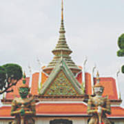 Exquisite Details On The Building Of Wat Arun In Bangkok, Thailand Art Print