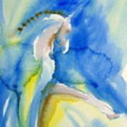 Extended Trot In Blue Art Print