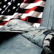 F-14 And Flag Art Print