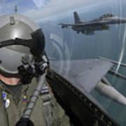 F-16 Fighting Falcons Flying Art Print