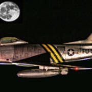 F-86 And The Moon Art Print