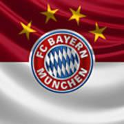 F C Bayern Munich - 3 D Badge Over Flag Art Print