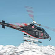 F-gsdg Eurocopter As350 Helicopter Over Mountain Art Print