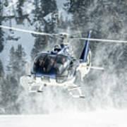 F-hana Eurocopter Ec-130 Landing Helicopter At Courchevel Art Print