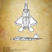 F22 Raptor Blueprint Art Print
